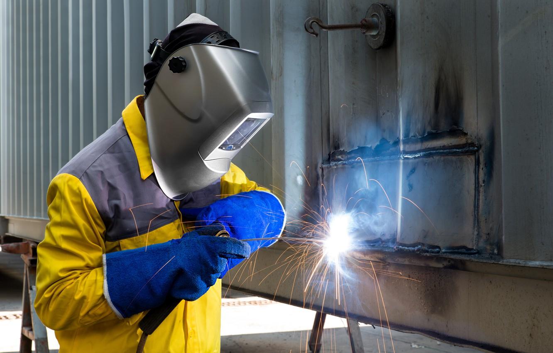 Photo wallpaper man, mask, protective equipment, welder