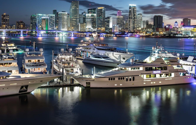 Photo wallpaper night, the city, lights, yachts