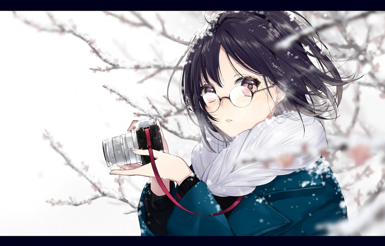 Photo wallpaper girl, snow, surprise, anime, art, glasses, the camera, sogawa