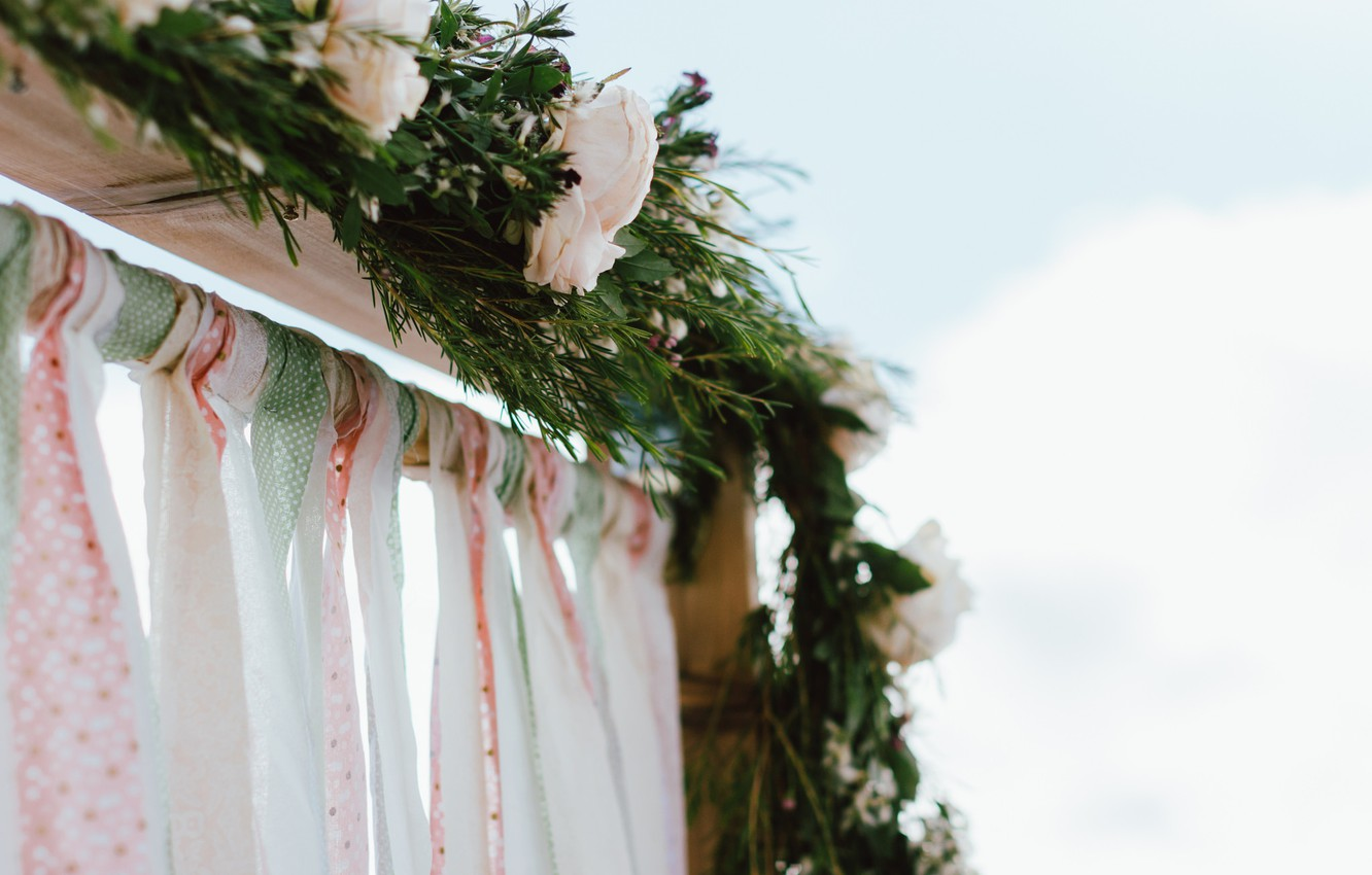 Photo wallpaper flowers, roses, arch, wedding