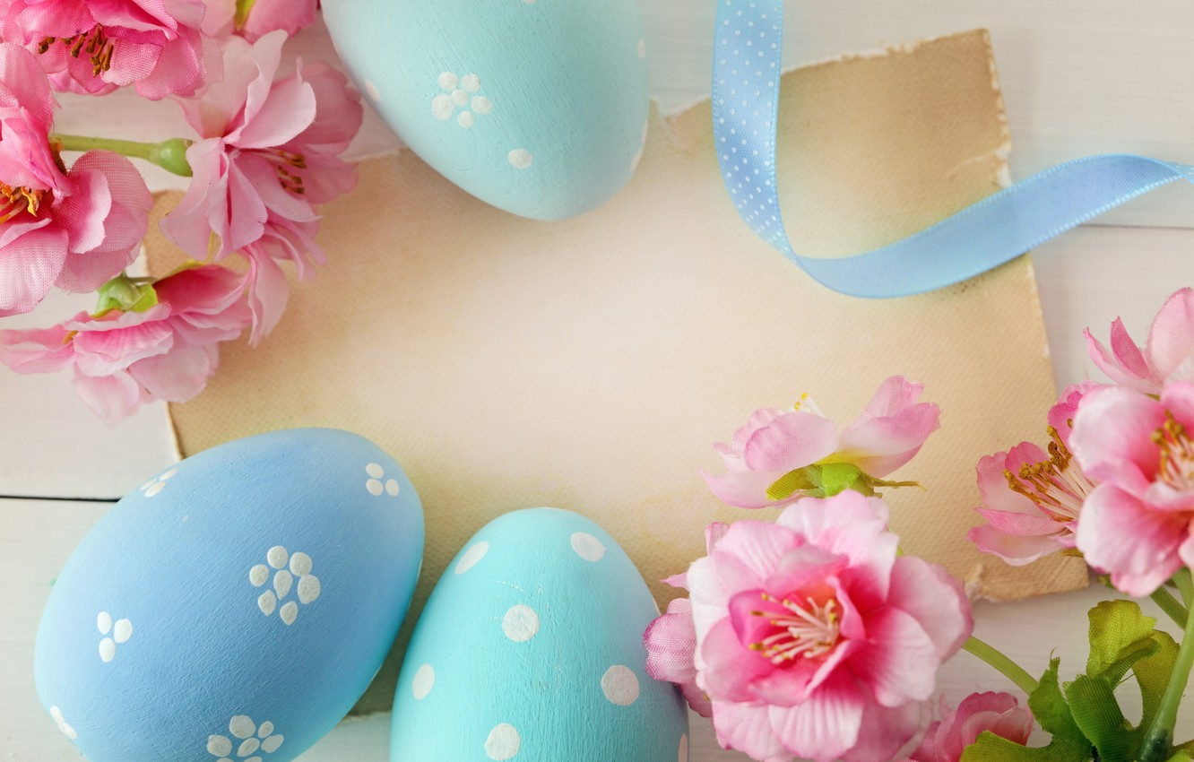Photo wallpaper flowers, Easter, eggs dyed, wood, spring, Easter, eggs, decoration, Happy