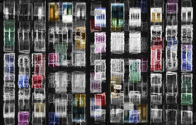 Photo wallpaper water, reflection, Windows, Amsterdam, channel, Netherlands