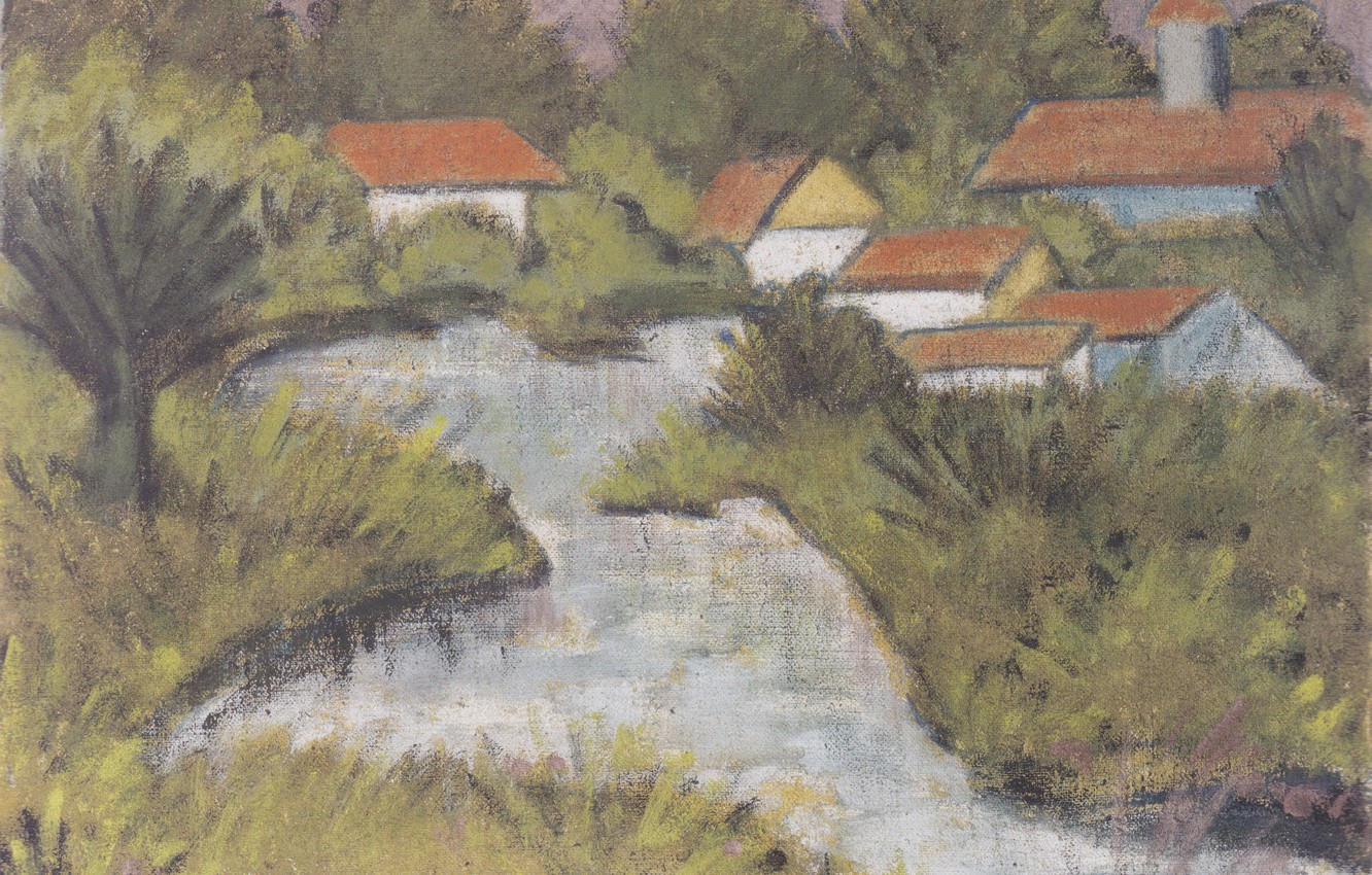 Photo wallpaper river, home, the bushes, Expressionism, Otto Mueller, ca1929, Red Roofs -