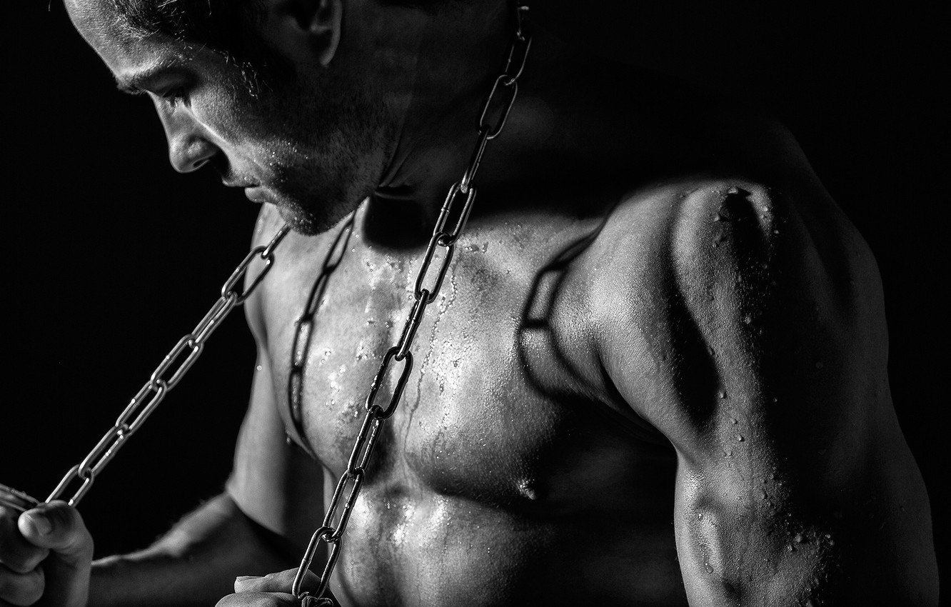 Photo wallpaper black and white, chain, guy, monochrome, muscles
