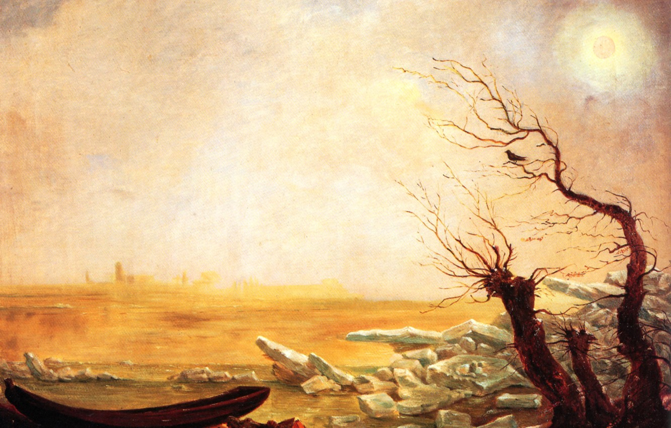 Photo wallpaper the sun, Carl Gustav Carus, Romanticism, German school of painting, Boat in ice floating ice