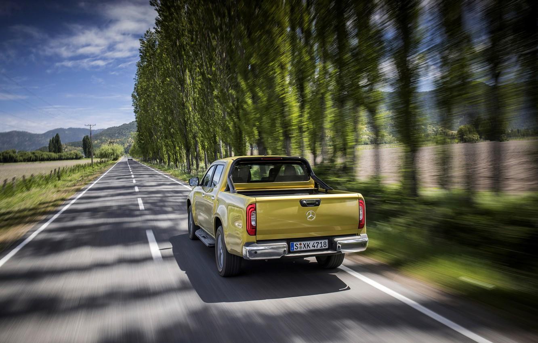 Photo wallpaper road, field, trees, yellow, movement, markup, Mercedes-Benz, pickup, 2017, X-Class