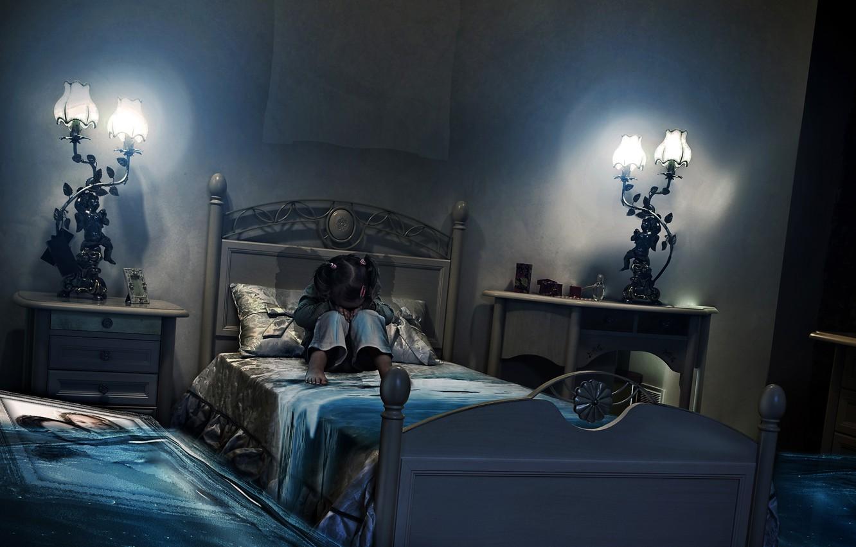 Photo wallpaper room, bed, picture, flood, girl, BossLogic, PRINT, Million Tears