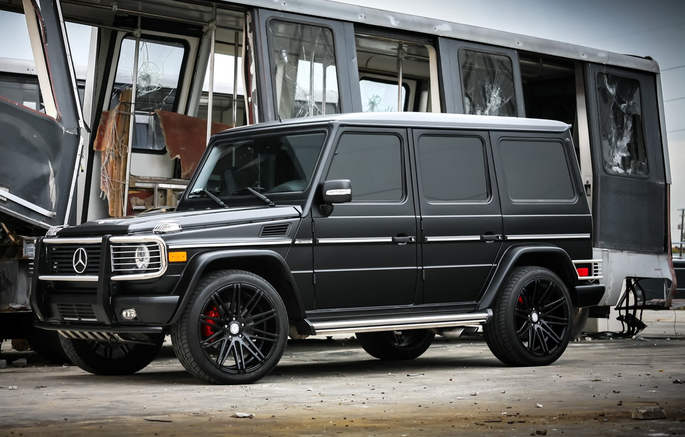 Photo wallpaper Mercedes-Benz, black, AMG, G55, with, complete, satin