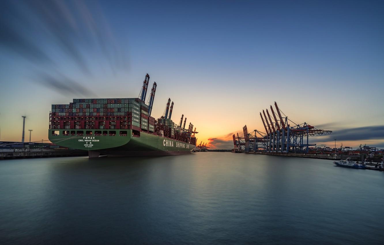 Photo wallpaper sunset, the city, ship, port