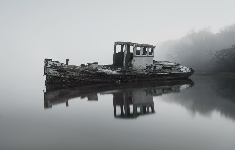 Photo wallpaper fog, lake, boat, the evening