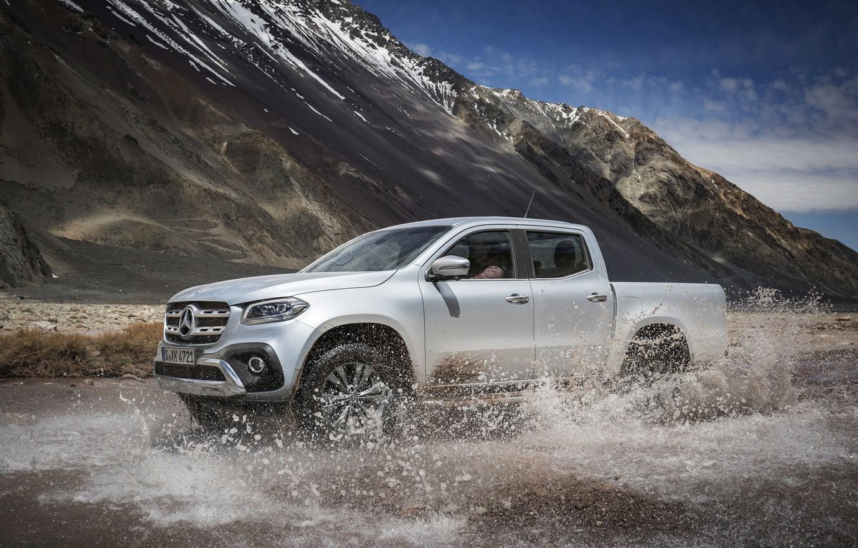 Photo wallpaper water, mountains, squirt, grey, Mercedes-Benz, silver, pickup, 2017, X-Class