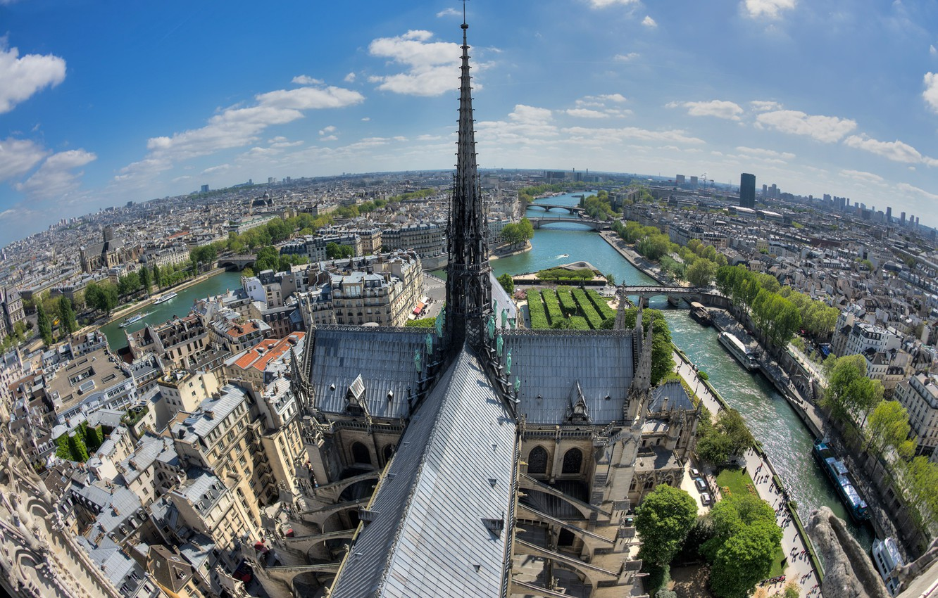 Wallpaper River France Paris Island Panorama Cathedral Hay
