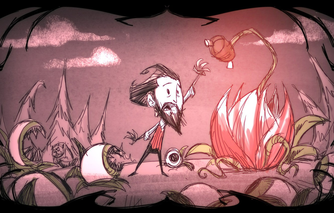 Photo wallpaper flower, eyes, clouds, tree, beard, game, eyes, Wilson, stretches, Don't Starve, flower, Starve