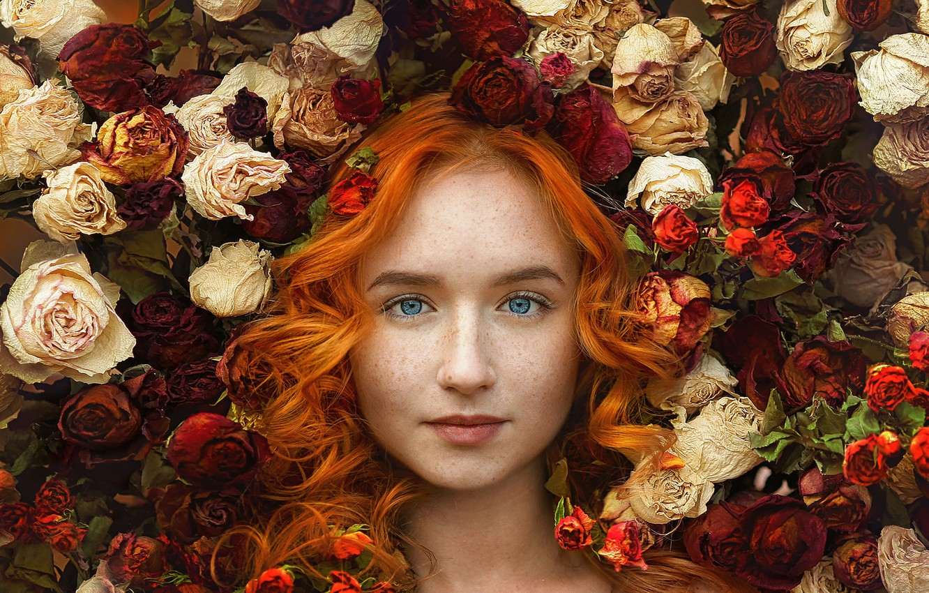 Photo wallpaper look, girl, flowers, face, mood, hair, roses, freckles, red, blue eyes, redhead, curls, Nastasia, Ivga …