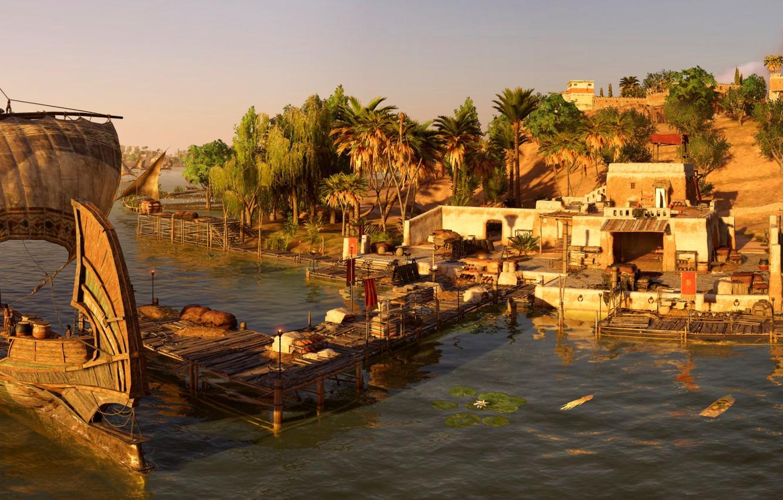 Wallpaper River Ship Settlement Egypt Assassin S Creed Origins