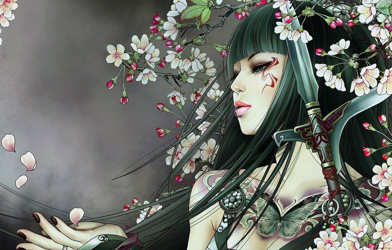 Photo wallpaper girl, sword, fantasy, weapon, blue eyes, butterfly, flowers, lips, face, brunette, digital art, artwork, piercing, …