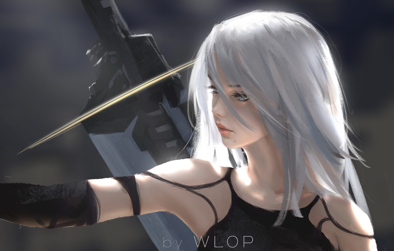 Photo wallpaper Girl, Figure, The game, Blonde, Girl, Hair, Sword, Art, Art, Blonde, Game, Sword, Hair, Artist, …