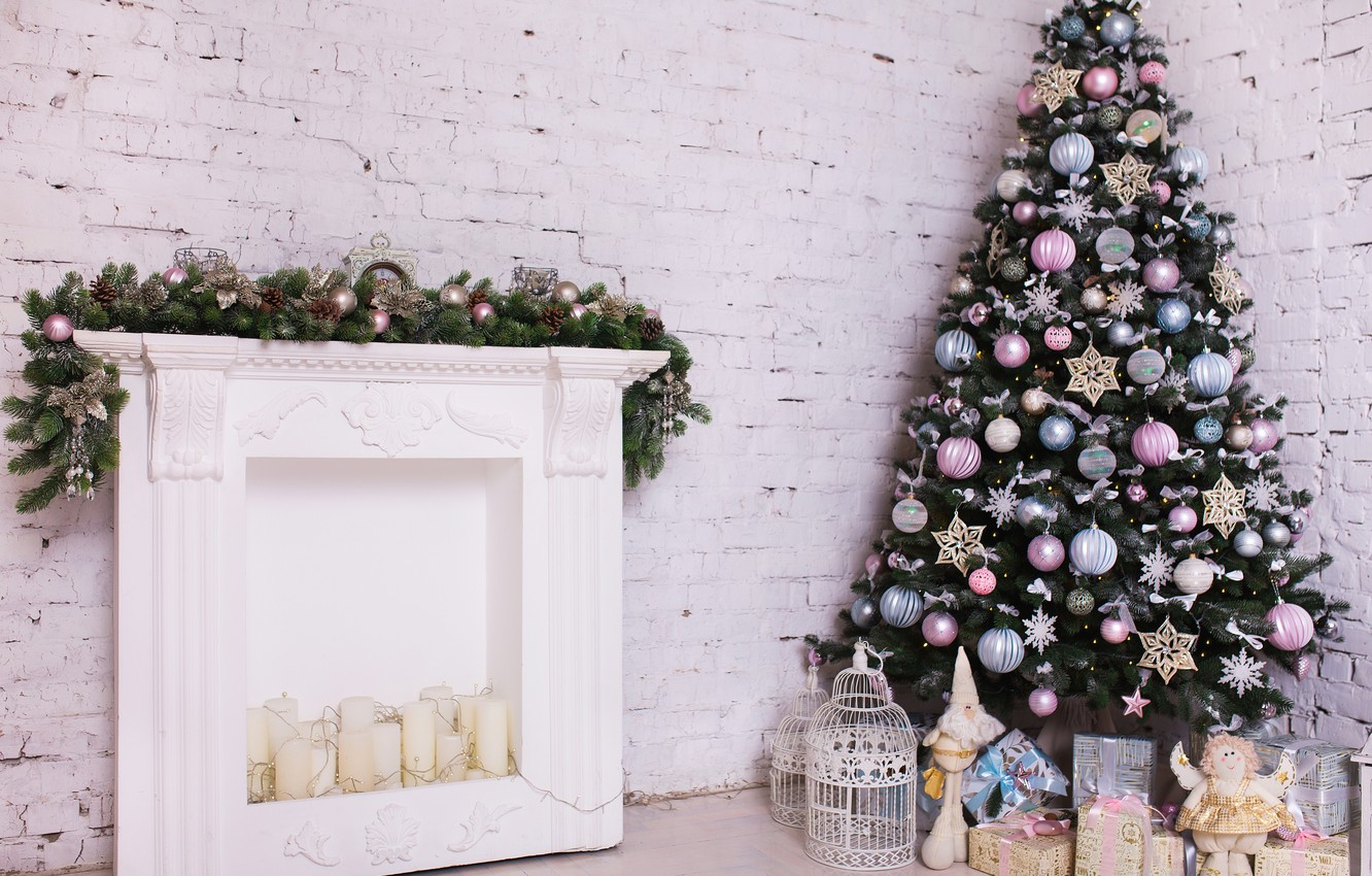 Photo wallpaper decoration, room, toys, tree, New Year, Christmas, white, Christmas, design, wood, blue, pink, Merry Christmas, …