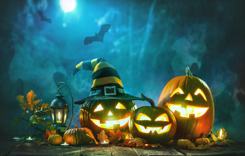 Photo wallpaper night, pumpkin, halloween