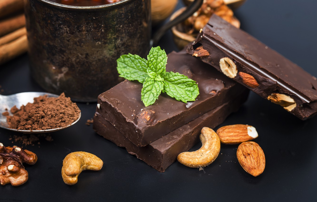 Photo wallpaper chocolate, nuts, mint