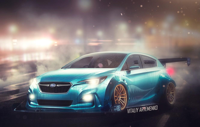 Photo wallpaper wet, concept, night city, photoshop, stance, Subaru.Impreza