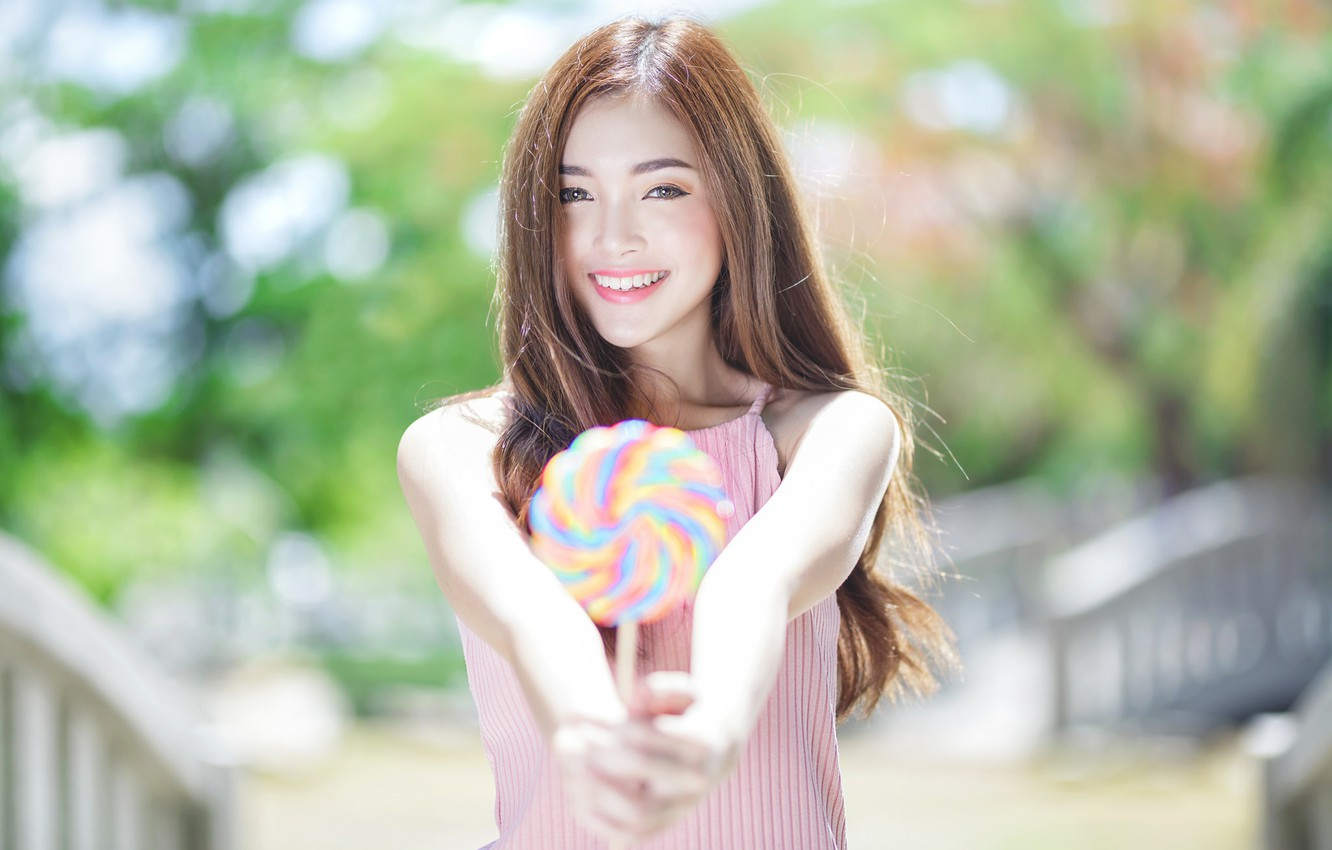Wallpaper girl smile mood Lollipop Asian candy bokeh images