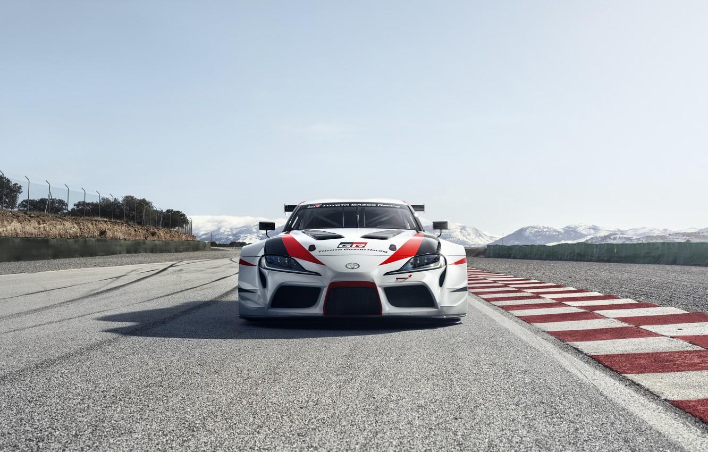 Photo wallpaper asphalt, track, Toyota, front view, 2018, GR Supra Racing Concept