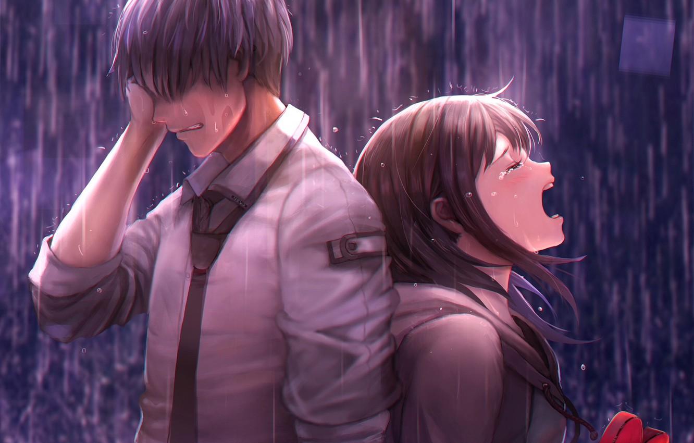 Photo wallpaper girl, rain, guy, two, tears