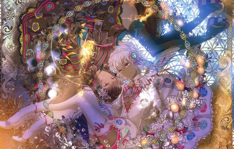 Photo wallpaper girls, wings, anime, art
