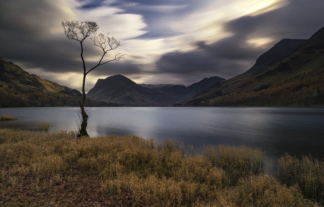 Photo wallpaper grass, mountains, nature, lake, cloudy weather