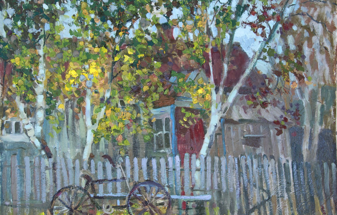 Photo wallpaper trees, bike, house, the fence, graphics, spring, shop, Painting, cottage, out of the city, Svetlana …