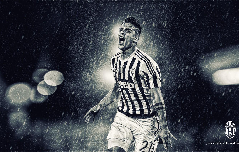 Photo wallpaper rain, Juventus, The Argentine wizard, spotlight, dybala