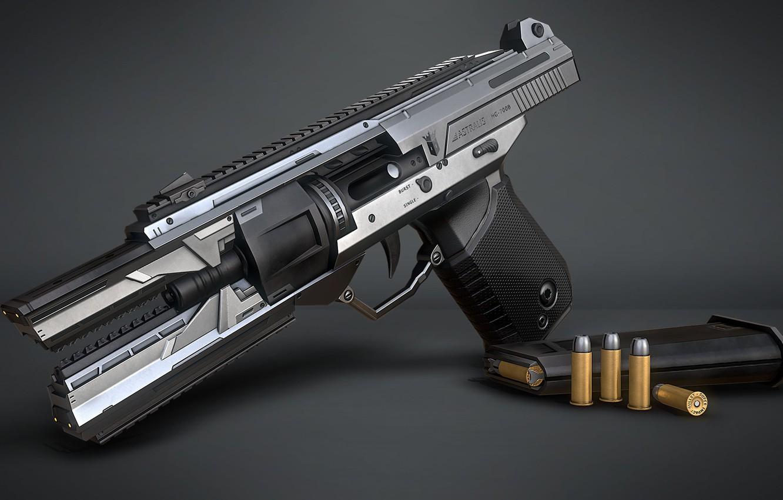 Photo wallpaper weapons, art, Sci-fi Handgun, Marcelo M. Prado