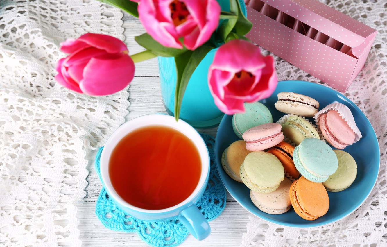 Photo wallpaper flowers, tea, bouquet, cookies, tulips, flowers, cakes, tulips, napkin, cakes, bouquet, tea, cookies, macaroon, macaroon, ...