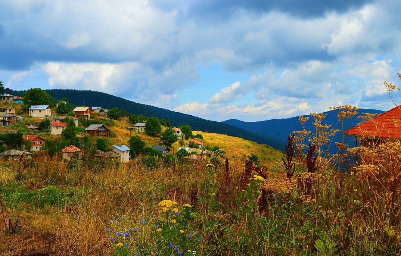 Photo wallpaper Nature, Clouds, Home, Mountains, Village, Nature, Clouds, Mountains, Village