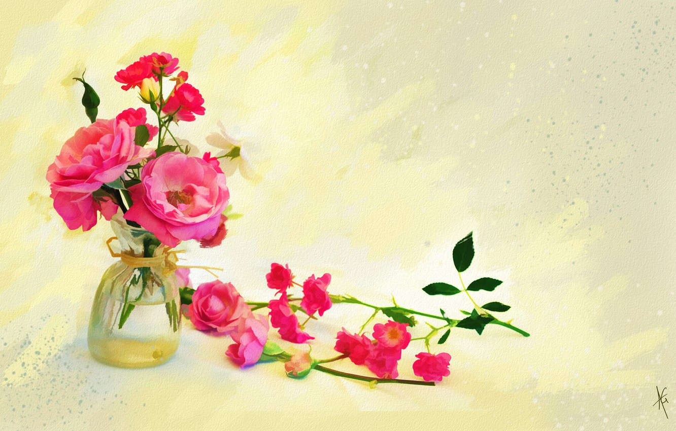 Photo wallpaper glass, water, flowers, background, figure, graphics, roses, treatment, bouquet, light, picture, art, pink, painting, buds, …