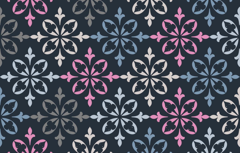 Photo wallpaper flowers, retro, pattern, texture, ornament, blue background