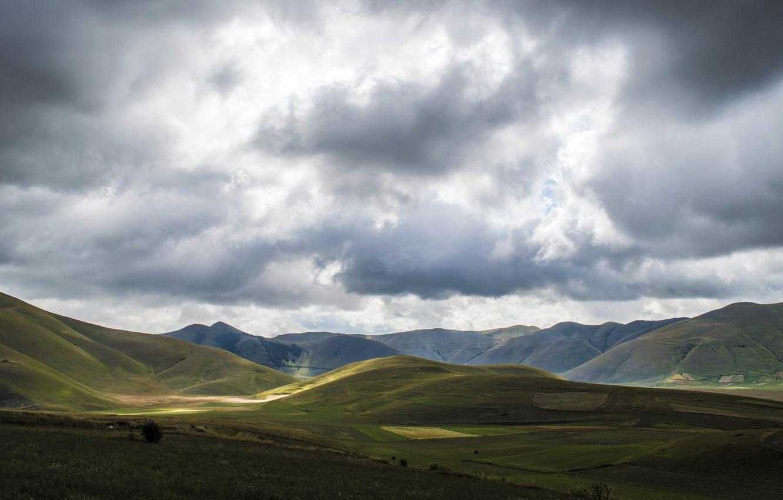 Photo wallpaper summer, grass, sky, field, landscape, sunset, scenic, mountain, hills, valley, daylight