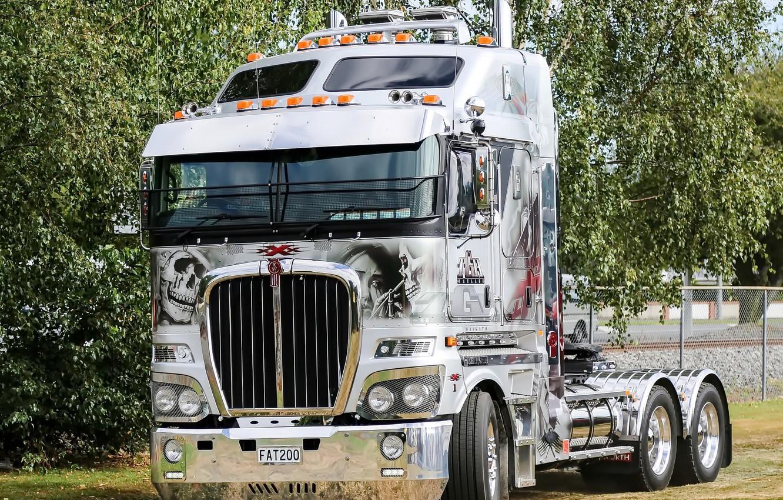 Photo wallpaper white, truck, Kenworth, hrome