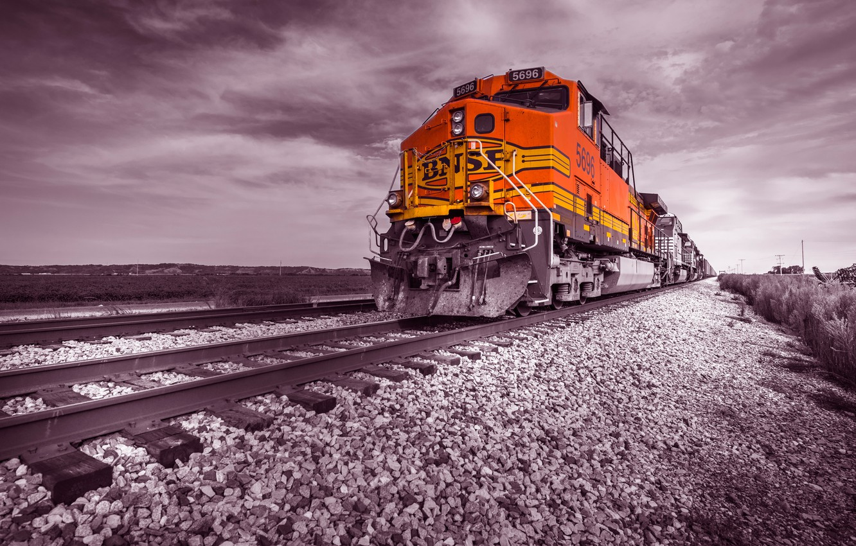 Photo wallpaper rails, train, railroad, locomotive