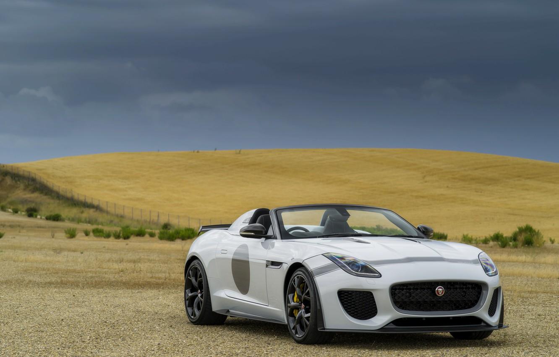 Photo wallpaper field, white, overcast, Jaguar, plain, hill, V8, 575 HP, 5.0 L., F-Type Project 7