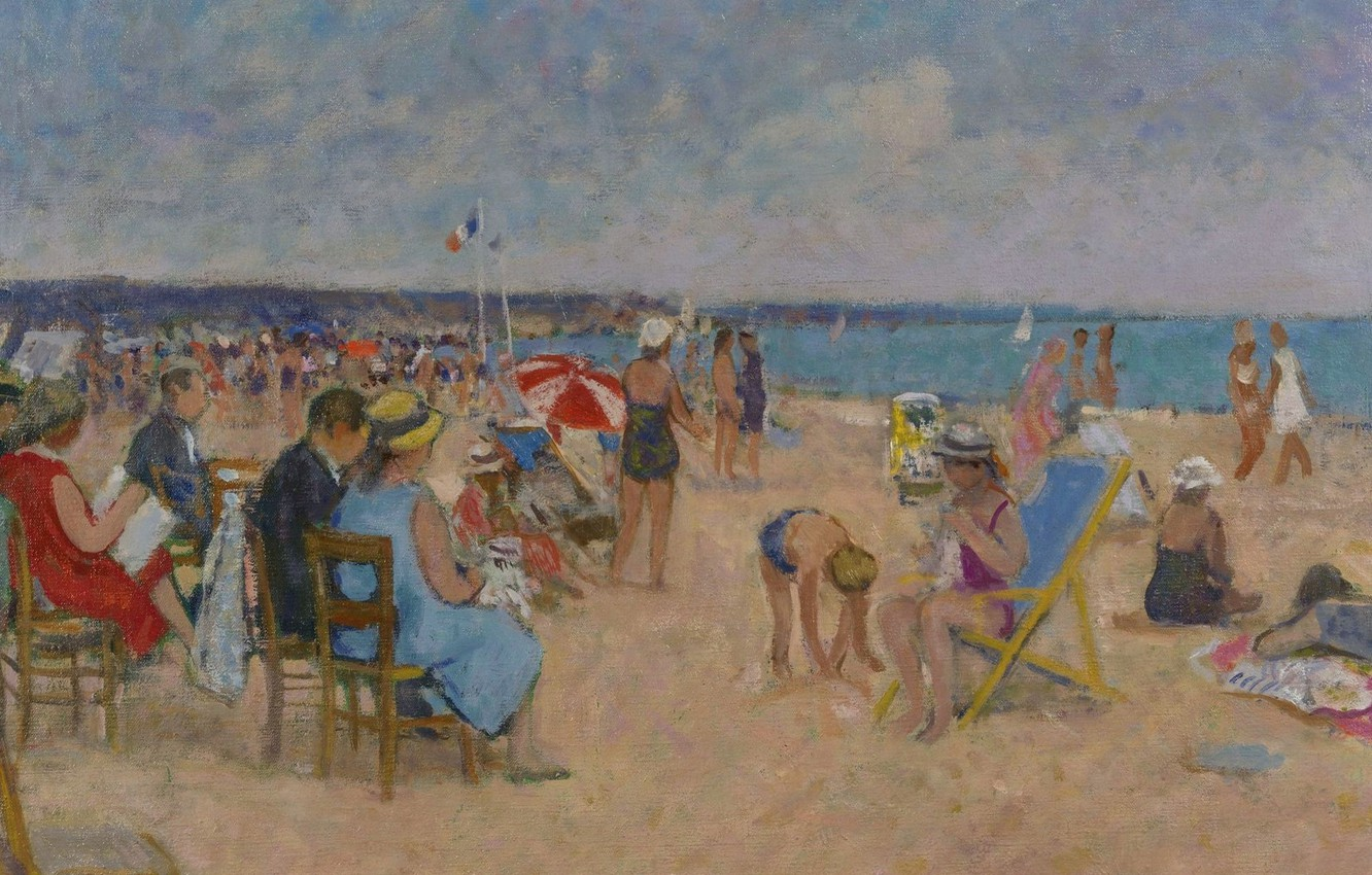 Photo wallpaper sea, people, stay, picture, genre, Francois Gall, The Artist's family on the Beach of Trouville