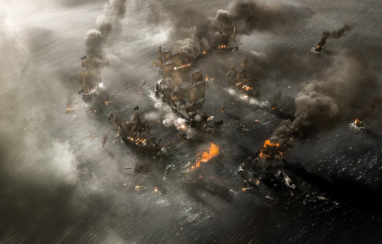 Photo wallpaper cinema, explosion, fire, flame, chaos, sea, smoke, war, movie, death, battle, film, ships, spark, destruction, …