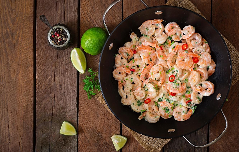 Photo wallpaper lime, pepper, shrimp, seafood
