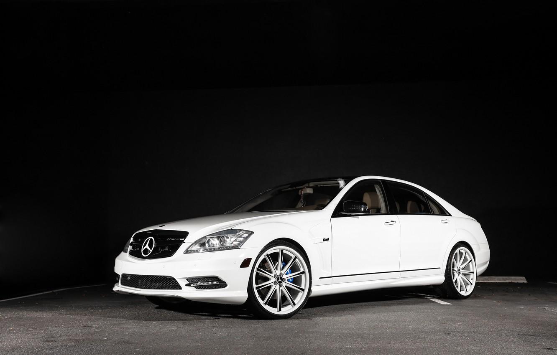 Photo wallpaper Mercedes, wheels, with, S550, Vossen, CV1