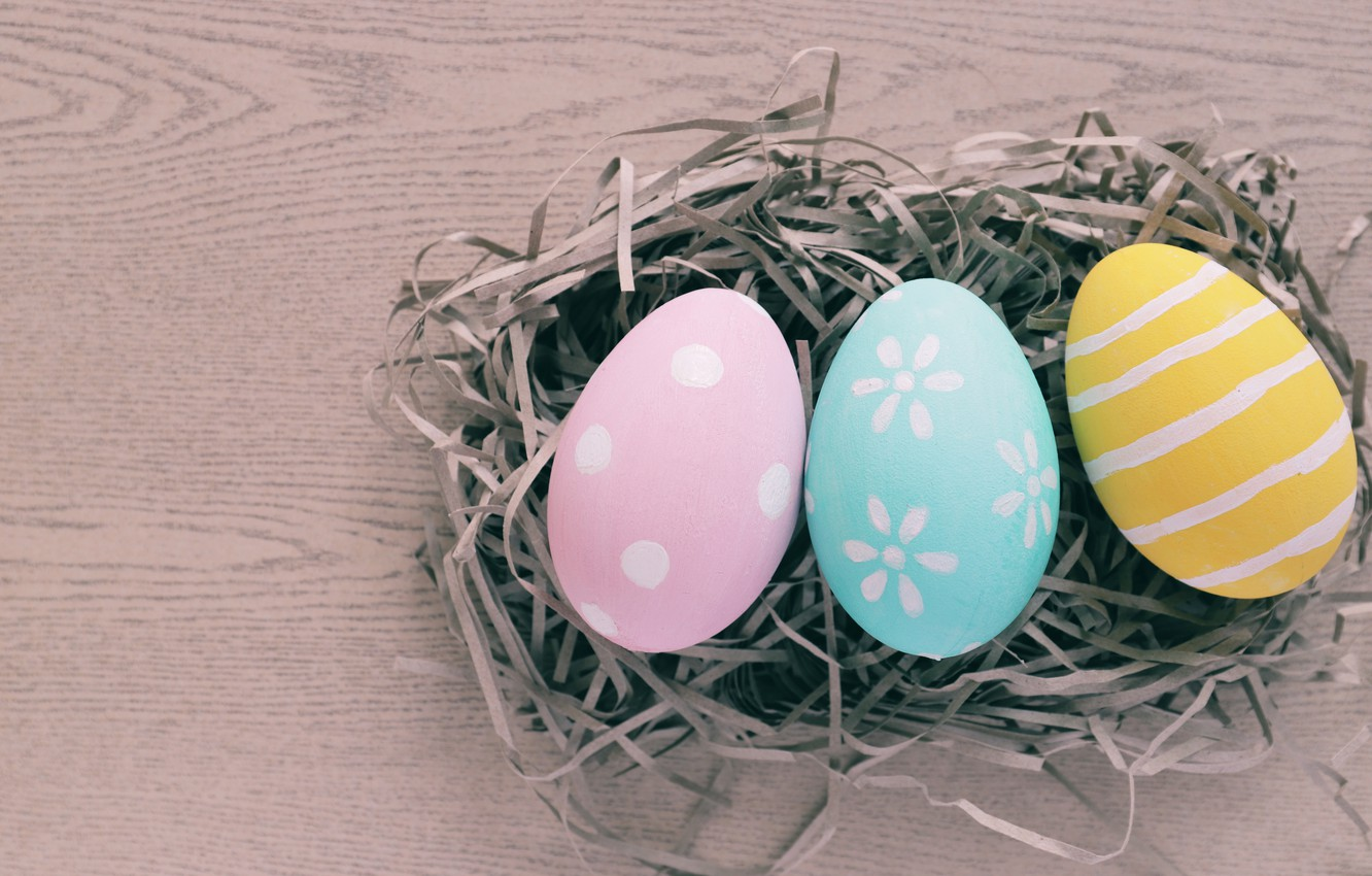 Photo wallpaper eggs, spring, colorful, Easter, hay, spring, Easter, eggs, decoration, Happy, tender