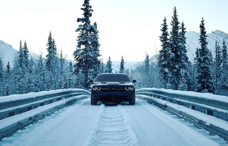 Photo wallpaper road, the sky, snow, mountains, bridge, lights, lights, tree, Dodge, road, bumper, bridge, dodge, challenger, …