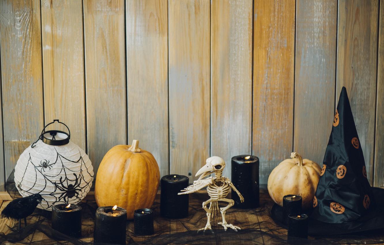 Photo wallpaper holiday, hat, candles, pumpkin, Halloween