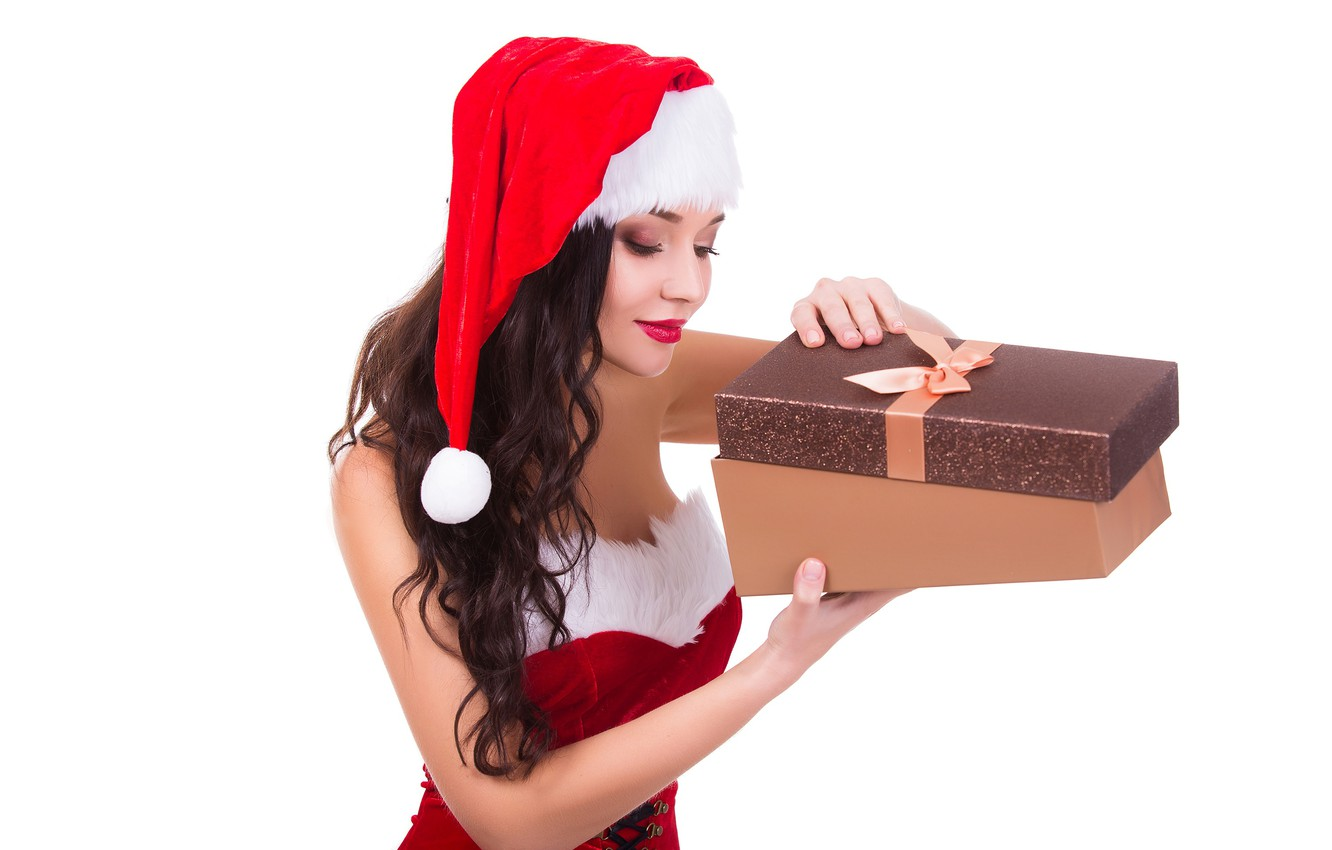 Photo wallpaper girl, holiday, box, gift, hat, new year, Christmas, makeup, dress, brunette, hairstyle, white background, maiden, …