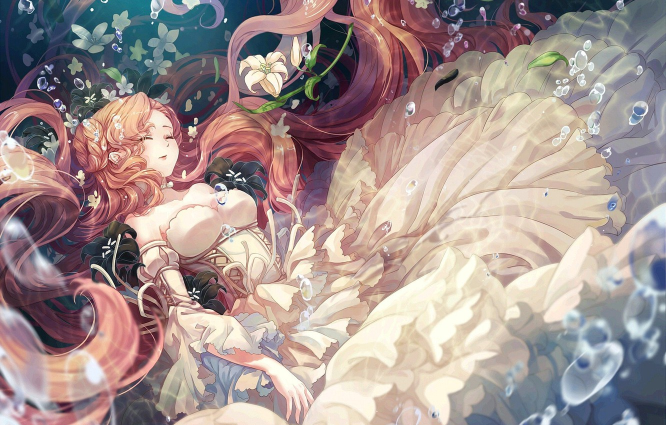 Photo wallpaper bubbles, neckline, white dress, in the water, code geass, code geass, white lilies, closed eyes, …